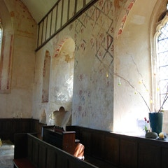 North Wall of Chancel and Antique Pews
