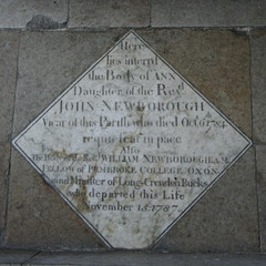 Memorial to John Newborough in Chancel Floor Near Altar