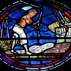 Zodiac Window (c.1220): August (Isolated)