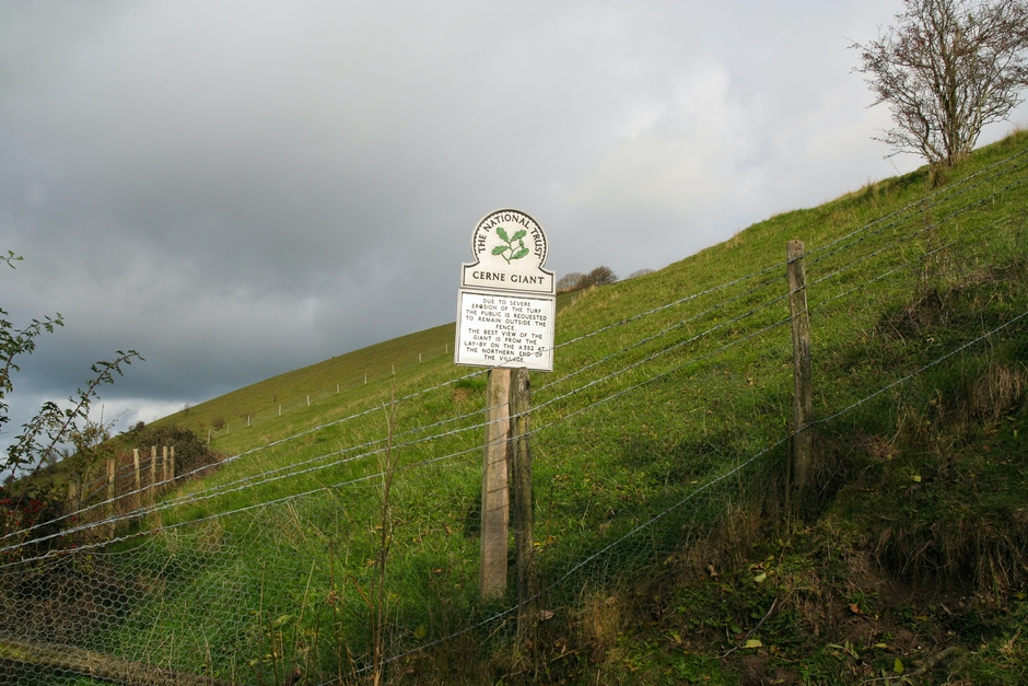 Sign for the Cerne Abbas Giant