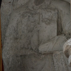 Detail of Rather Ghastly 13th-Century Effigy of Priest Set Upright in South Wall of The