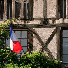 Village House with French Flag