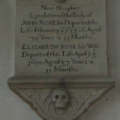 Memorial to John and Elizabeth Rose on East Wall of South Transept