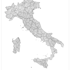 Administrative map of Italy showing regions, provinces and communes