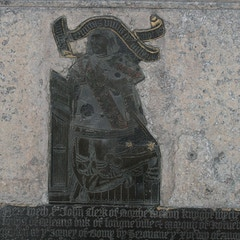 Brass Memorial with Kneeling Effigy of Sir John Clerke in Chancel