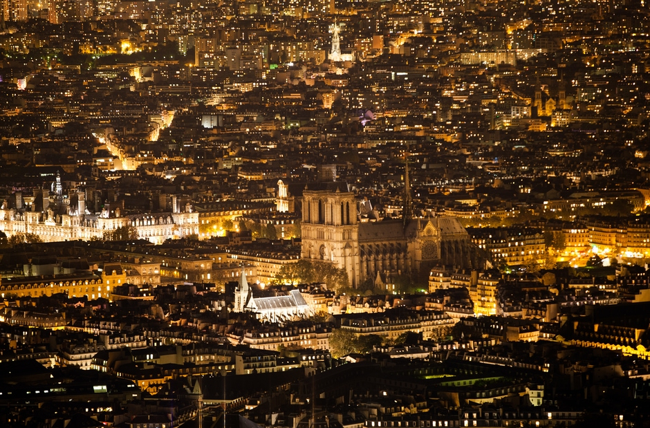 Paris City Lights with Notre-Dame Cathedral