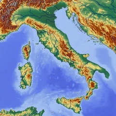 Relief Map of Italy