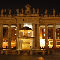 Colonnade and Fountain by Night
