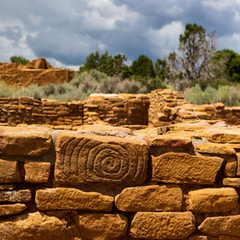 Spiral Stone at Pipe Shrine House (Mesa Verde NP, Colorado)