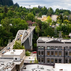 Arch Bridge and Masonic Temple from Above (Oregon City, Oregon)