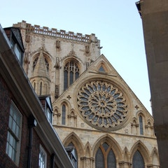 View of York Minster's Rose Window and Central Tower from South