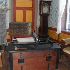 Printing press inside the Clover Hill Tavern at Appomattox Court House, Va