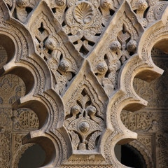 Detail from arches in the Patio of the Maidens, Alcazar, Sevilla, Spain