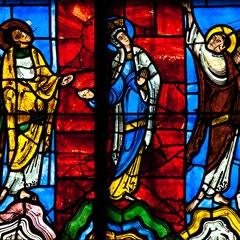 Window XVI: Virgin Mary and Apostles at the Ascension