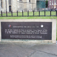 Sign Accompanying Statue of Emperor Constantine Next to York Minster