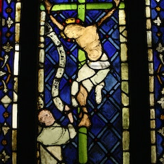 Crucifixion with Donor (medieval stained glass, Colmar, France)