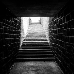 Singer Creek Underpass Stairs in Black and White (Oregon City, Oregon)