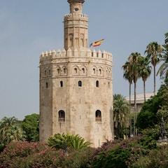 Torre del Oro flag Seville Spain