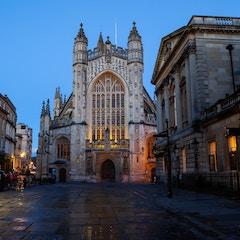Bath Abbey and Pump Room at Dusk (Bath, England)