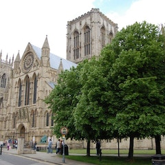 Approach to York Minster from Deangate and Minster Yard on South Side