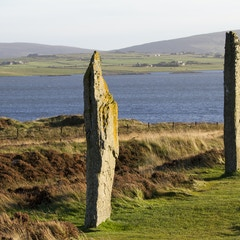 Stones 1 and 2 with Loch of Harray