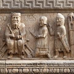Left Tower Relief: Magi before Herod