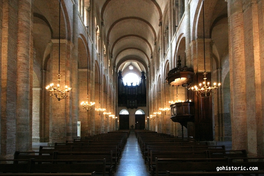 Romanesque Nave Looking West (Toulouse, France)