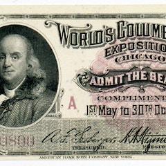 Ticket with portrait of Benjamin Franklin