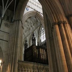 A Peek at Organ and Choir Screen from North Transept