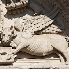 Tympanum Detail: Symbol of St. Luke the Evangelist