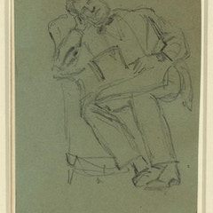 Sketch of Lincoln resting in chair, top hat in lap
