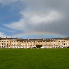 Royal Crescent panorama with double rainbows